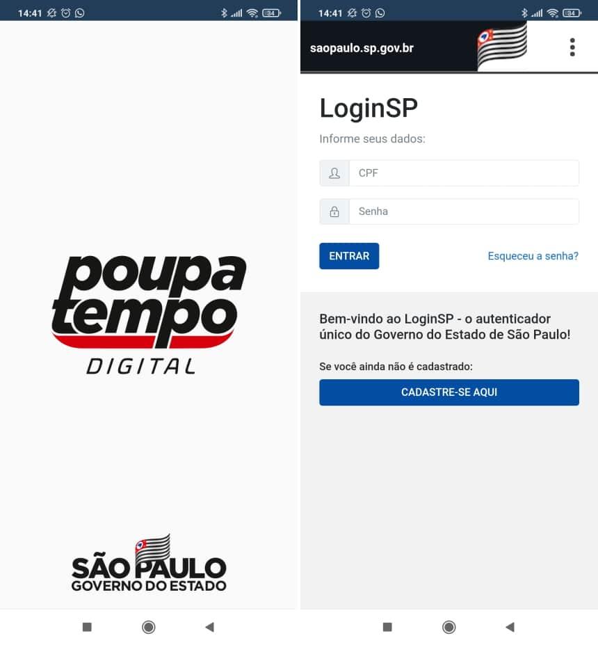 How to renew CNH using the Poupatempo Digital app - Step 1