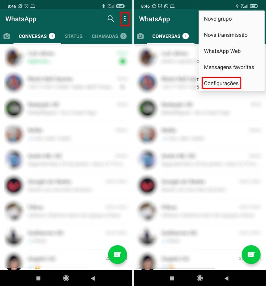 """Como esconder o status """"digitando"""" no WhatsApp - Passo 1"""