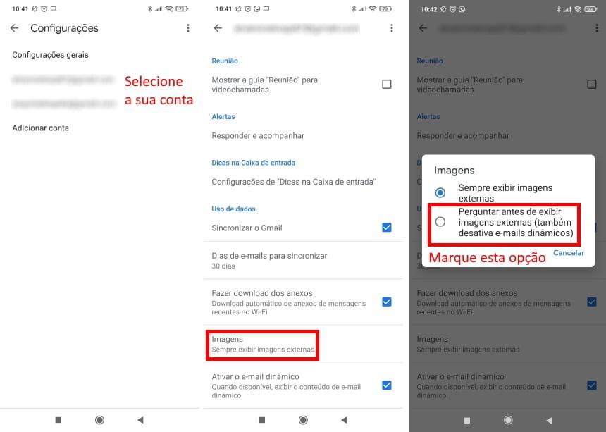 Cómo no ser rastreado por Gmail en dispositivos móviles - Paso 2