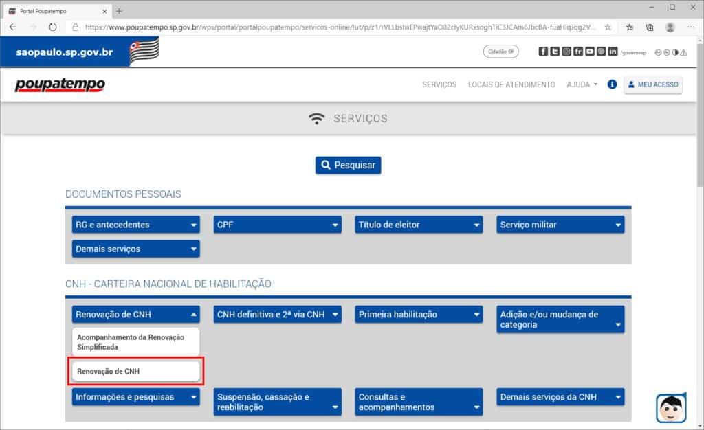 How to renew CNH through the Poupatempo website - Step 2