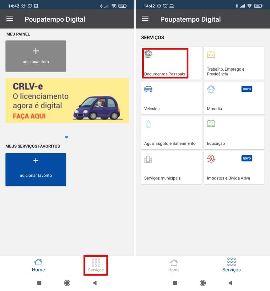 How to renew CNH using the Poupatempo Digital app - Step 2