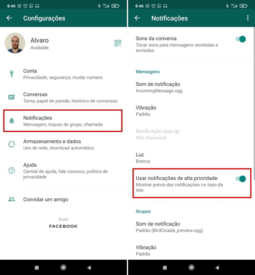 """Como esconder o status """"digitando"""" no WhatsApp - Passo 2"""