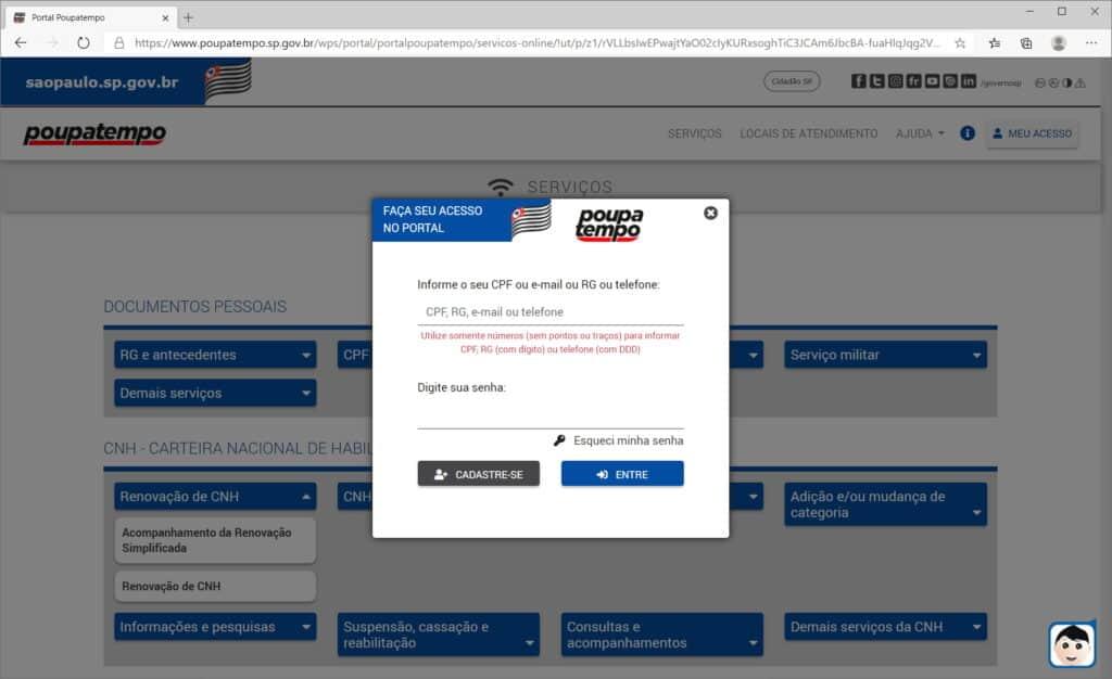 How to renew CNH through the Poupatempo website - Step 3