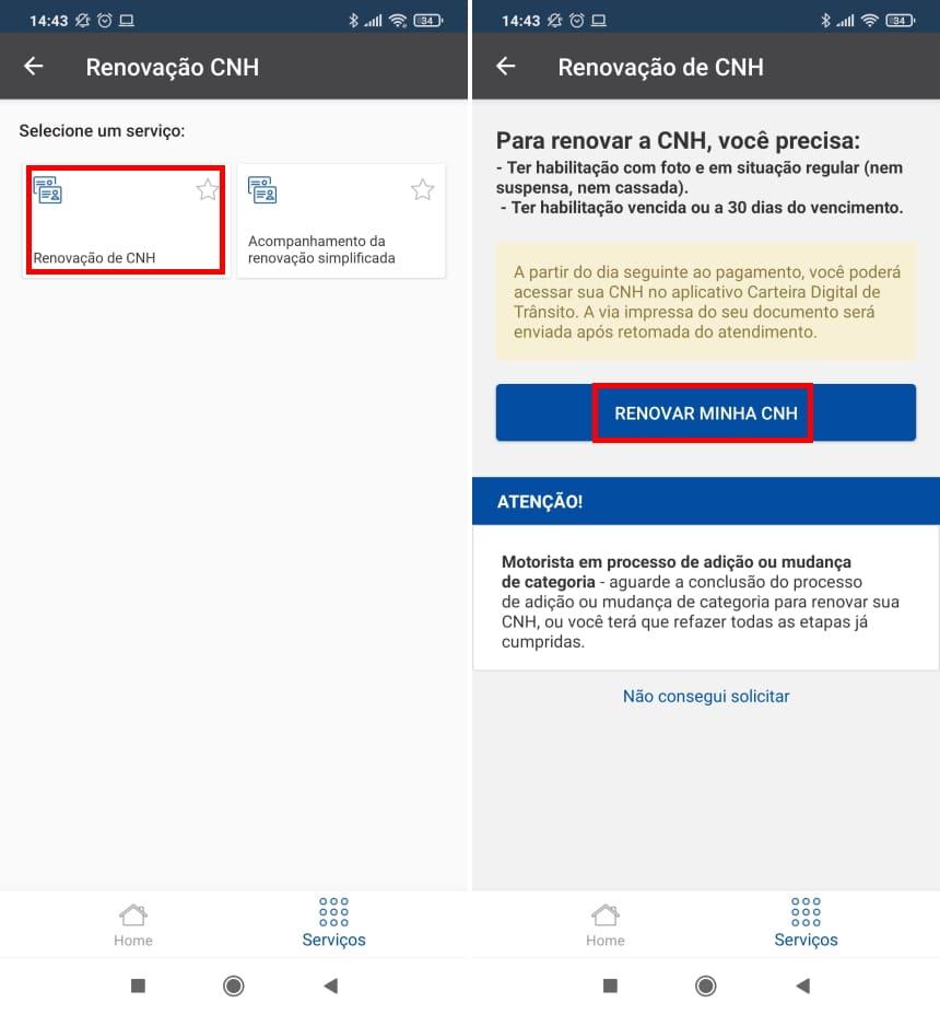 How to renew CNH using the Poupatempo Digital app - Step 4