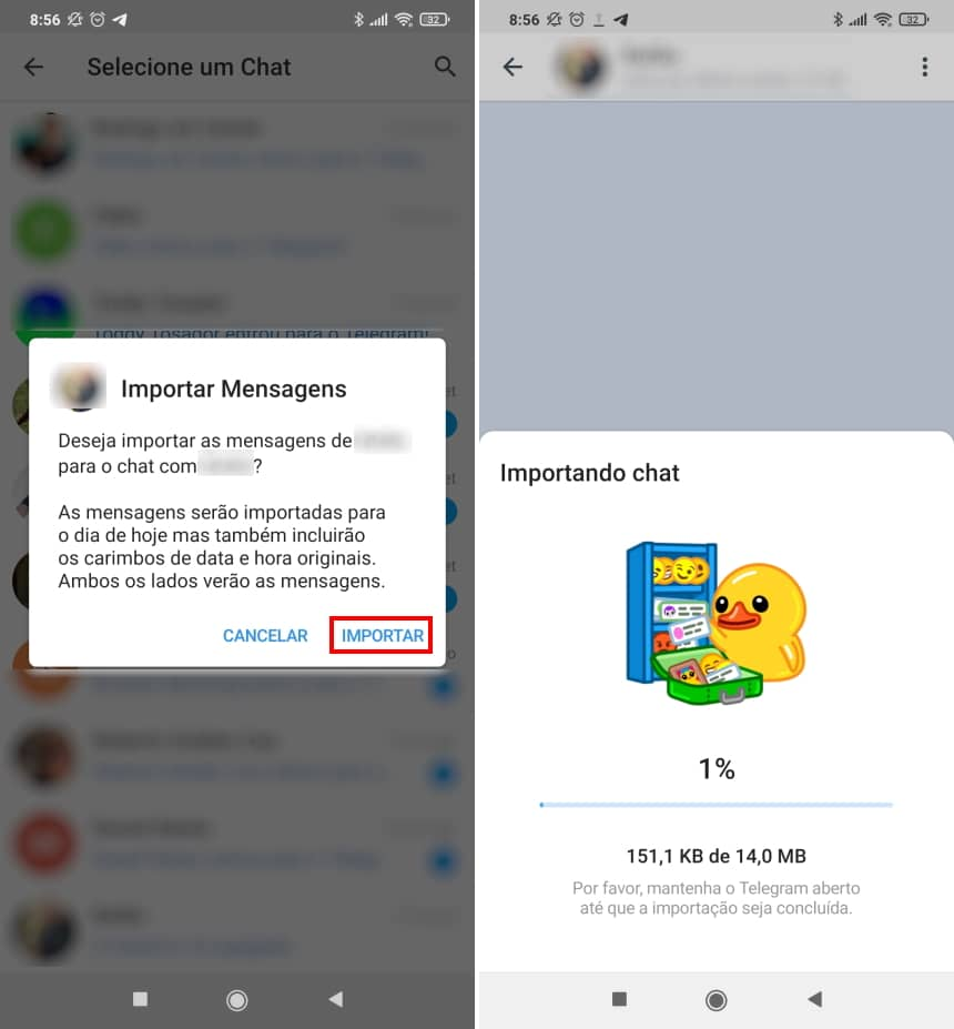 Como migrar conversas do WhatsApp para o Telegram no Android - Passo 5