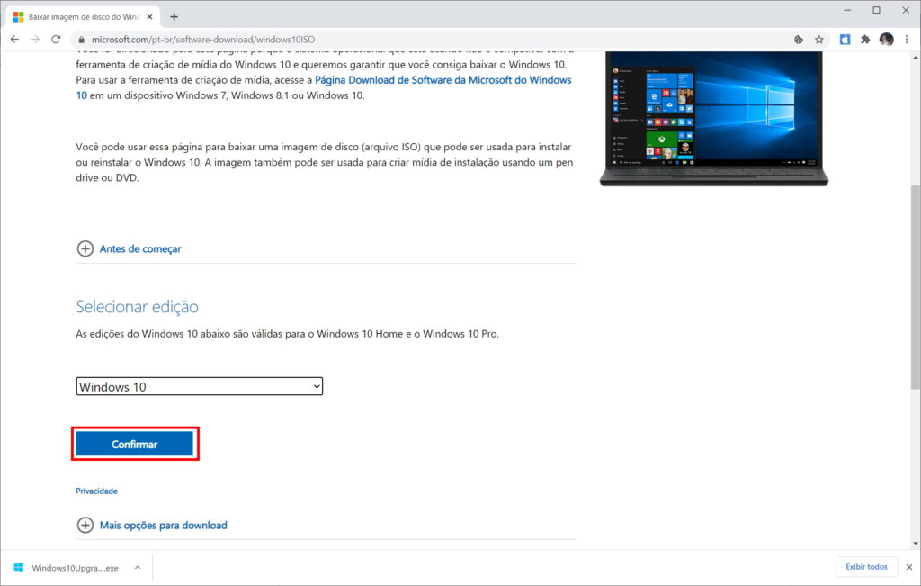 How to download Windows 10 ISO from Microsoft website - Step 6