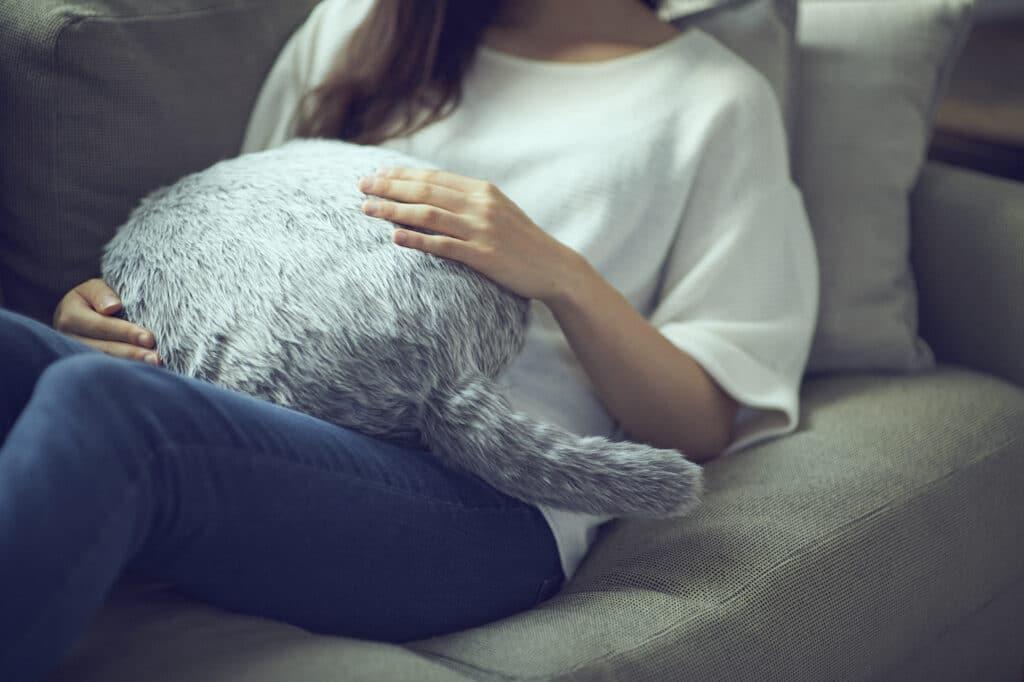 Mulher segura almofada em formato de gato sem cabeça Qooboo