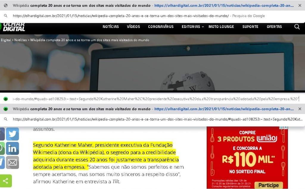 Exemplo de página com links diretos com texto destacado.