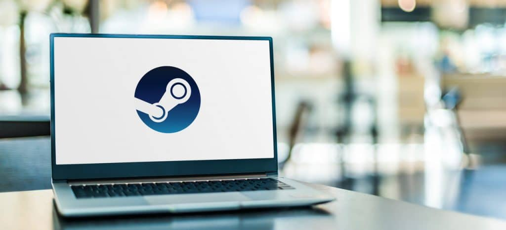 Notebook com logo da Steam, da Valve