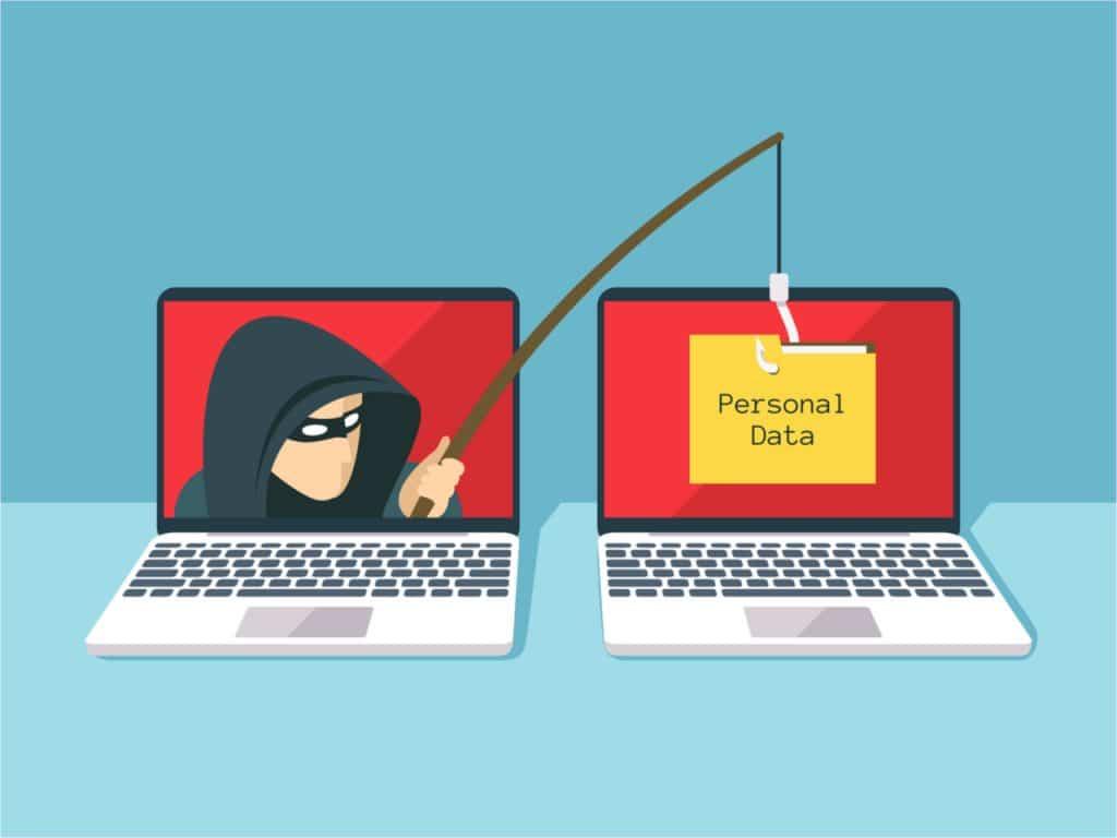 imagem de um hacker roubando dados de um computador para outro