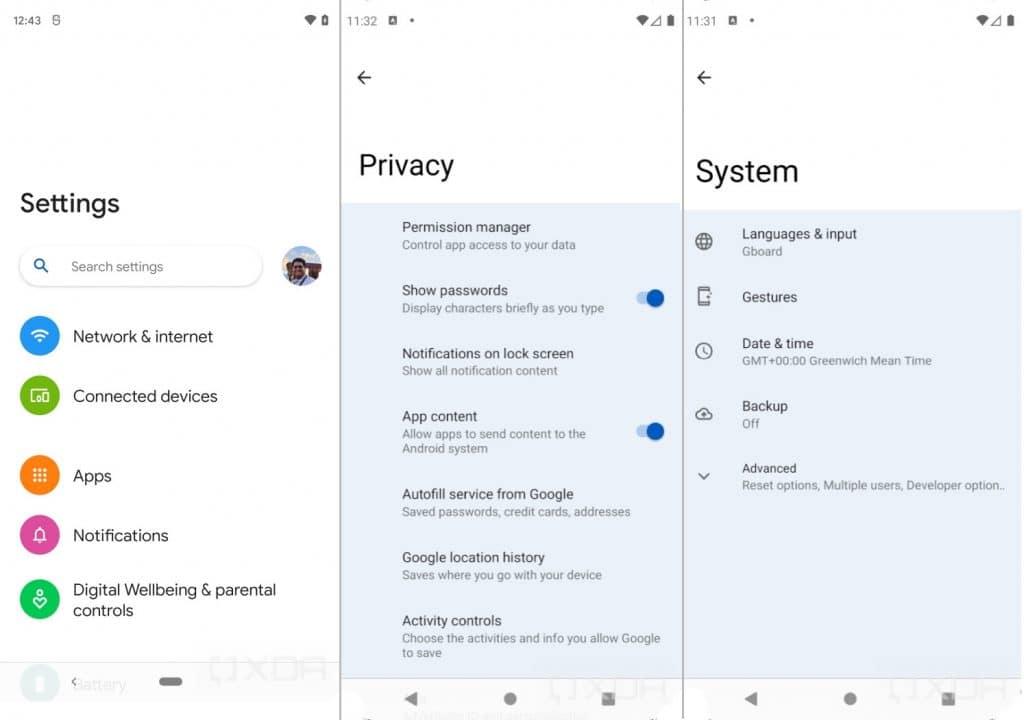 Aplicativo de configurações no Android 12 com a opção Silky Home ativada. Aparência similar à OneUI da Samsung.
