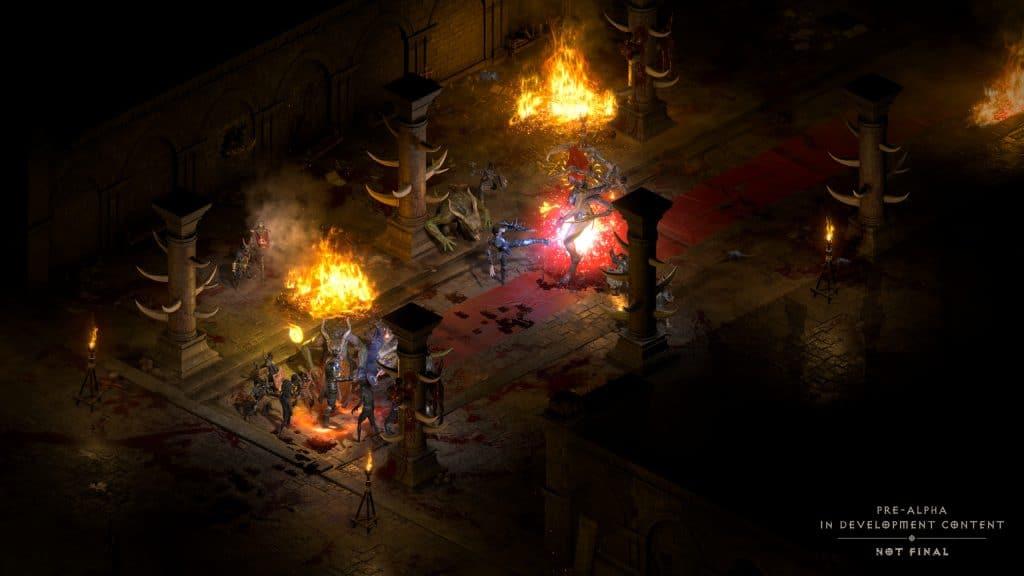 Cena da batalha contra Andariel no jogo Diablo II: Resurrected