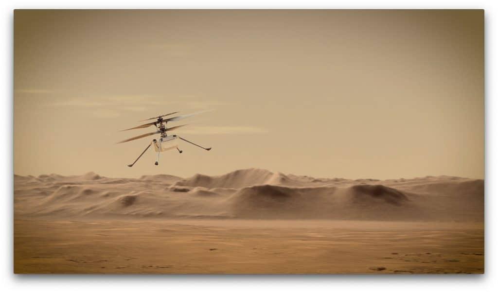 Ilustração mostra o drone Ingenuity voando sobre a paisagem Marciana.