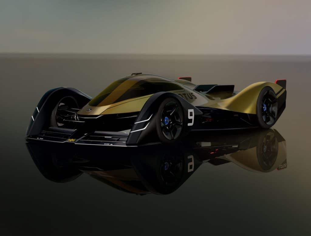 """Supercarro de corrida elétrico da Lotus, o ER-9, conta com assistência de direção parcial e capaz de """"voar"""" como um caça a jato. Imagem: Lotus/Divulgação"""