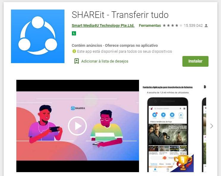 Página do SHAREit no Google Play. Aplicativo tem mais de 1 bilhão de downloads