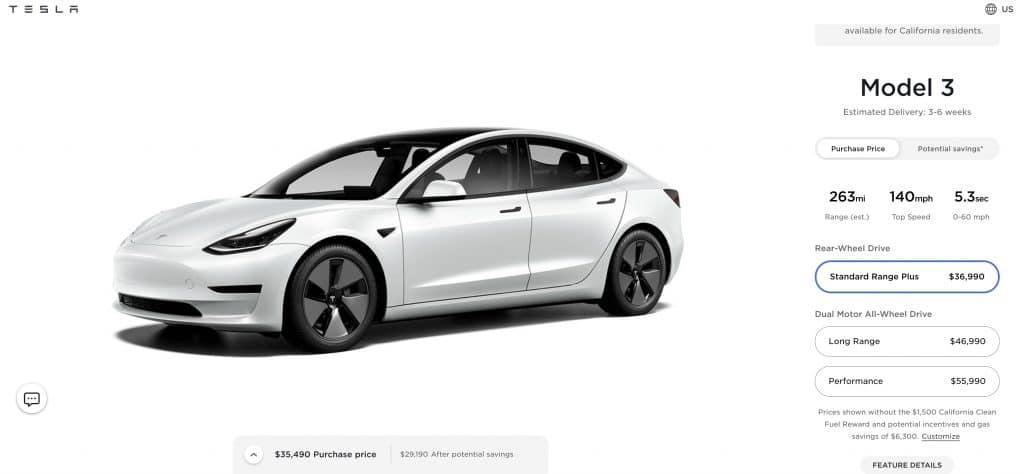 Model 3 em display no site da tesla