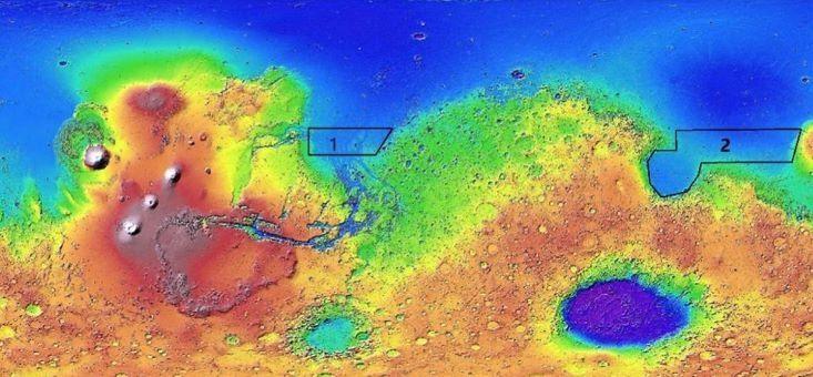 Mapa mostra os possíveis locais de pouso da Tianwen-1 em Marte. A área 1 fica na Chryse Planitia, e a área 2 em Utopia Planitia.
