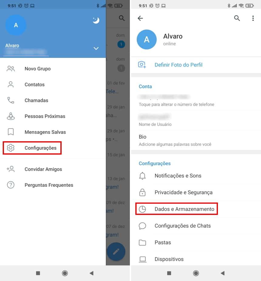 Cómo hacer que Telegram ocupe menos espacio en su teléfono - Paso 2