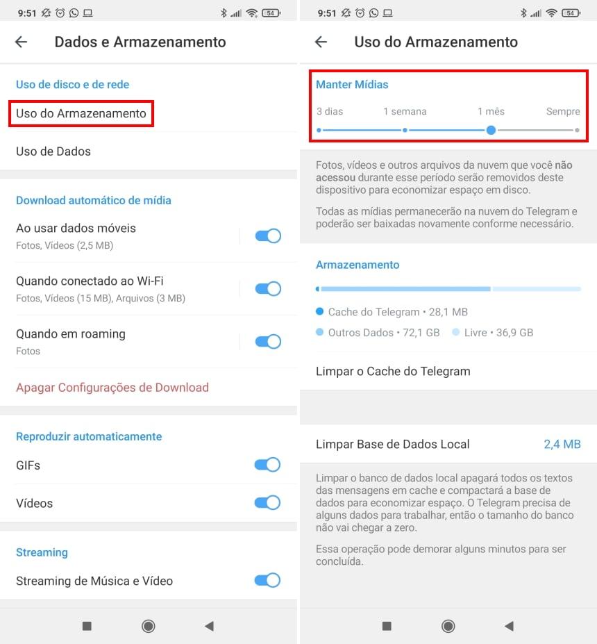 Cómo hacer que Telegram ocupe menos espacio en su teléfono - Paso 3