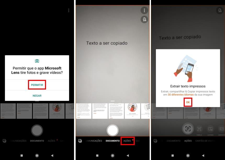 Como copiar textos com a câmera do celular usando o Microsoft Office Lens - Passo 4
