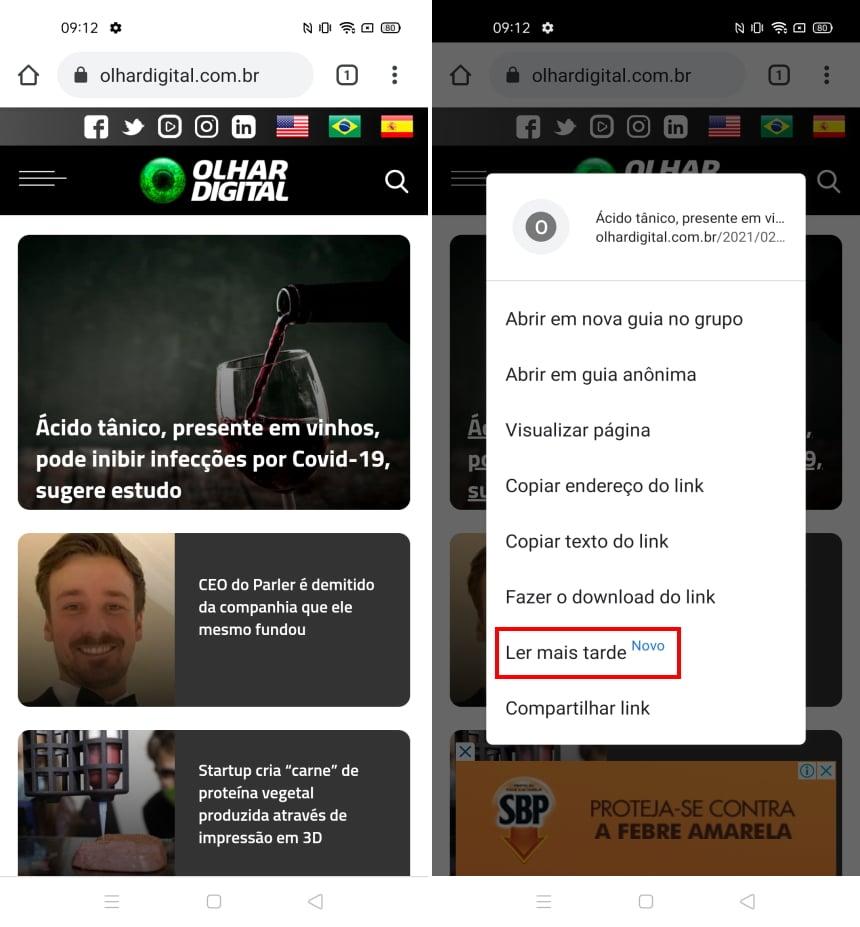 Como ativar o recurso ler mais tarde do Chrome no Android - Passo 4