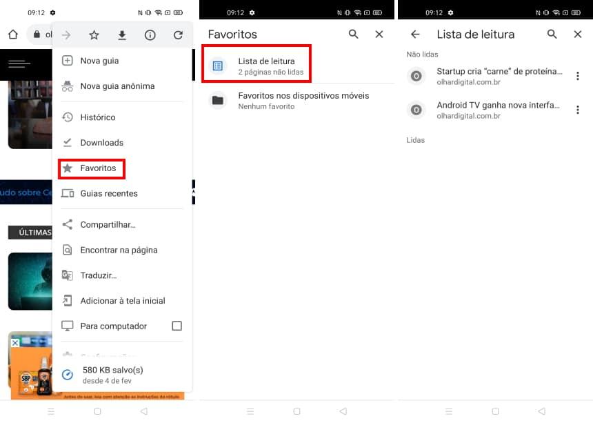 Como ativar o recurso ler mais tarde do Chrome no Android - Passo 5