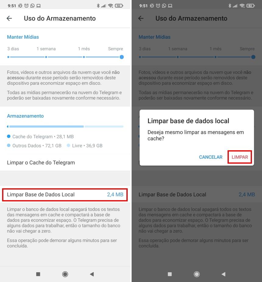 Cómo hacer que Telegram ocupe menos espacio en su teléfono - Paso 5