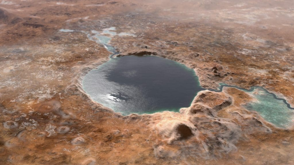 Ilustração mostra como seria a cratera Jezero há bilhões de anos. Local era um lago, onde desembocava um rio