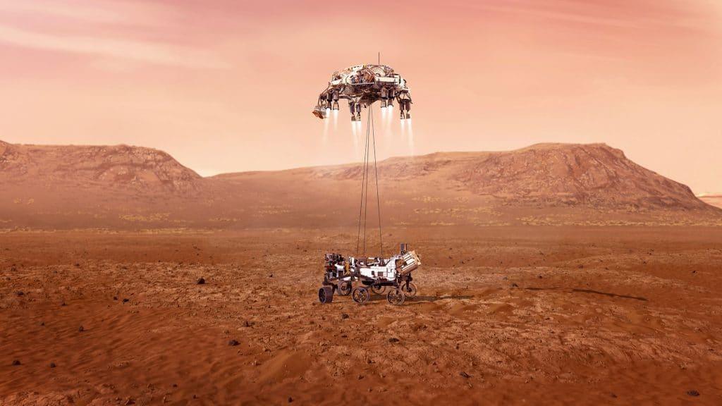 Ilustração mostra como deverá ser o momento em que o rover Perseverance tocará o solo de Marte.
