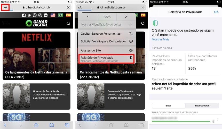 Relatório de privacidade do iOS 14 no Safari