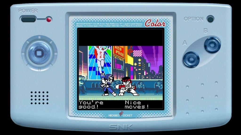 """Imagem mostrando cena de uma luta no jogo """"SNK vs. Capcom: Match of the Millenium"""", com Kyo e Ryu se enfrentando em um cenário psicodélico"""