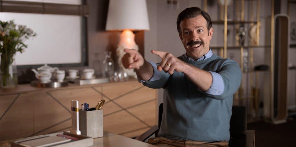 Jason Sudeikis em 'Ted Lasso'. Imagem: Universal/Divulgação